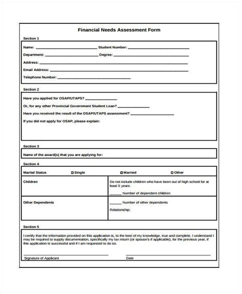 financial needs analysis template free 7 financial assessment form sles free sle