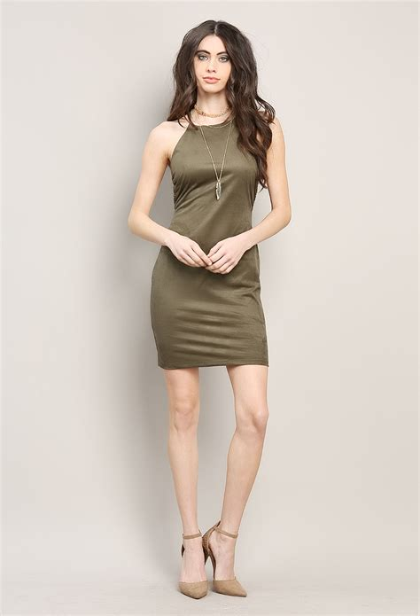 Preloved Clothes Bahan Suede Mini Dress suede cami mini dress shop out dresses at papaya clothing