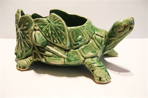turtle planter vintage mccoy green turtle pottery planter bowl mid