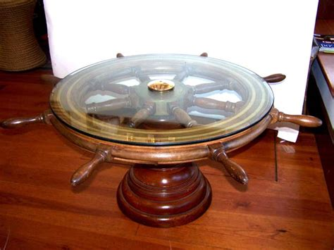 an antique ship s wheel coffee table antique furniture