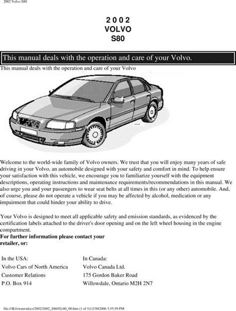 02 volvo s80 2002 owners manual download manuals technical