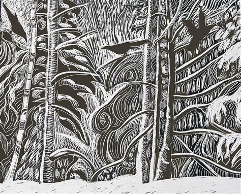 Contempor winter etching drawing by grace keown