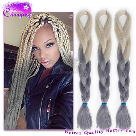 kanekolan hair black white grey ombre kanekalon braiding hair 100g pc two tone kanekalon