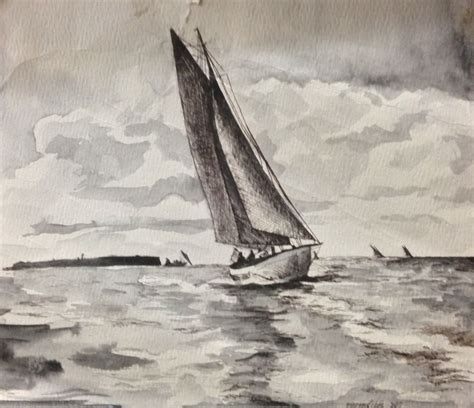 boat drawing ink sailboat before a storm lake geneva wi pen and ink 1981