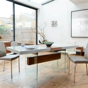 Light Up Dining Table Treble Extending Dining Table Light Grey And Walnut Dwell