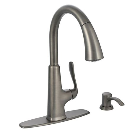 kitchen faucet pfister pfister pasadena single handle pull sprayer kitchen faucet with soap dispenser in slate f