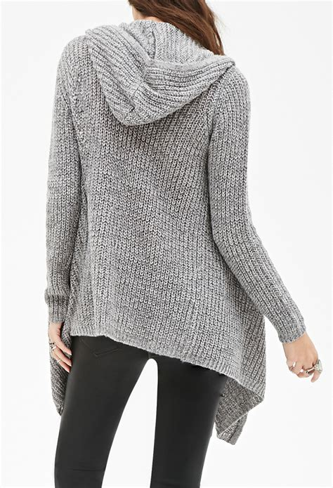 Forever 21 Draped Open Front Hooded Cardigan In Gray Lyst