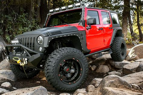 red jeep tuff 174 t10 wheels matte black with red accents rims