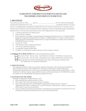 Fillable Online Renegadetransportation Agreement For Dispatch Services Renegade Dispatcher Contract Template
