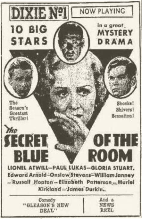 The Secret Of The Blue Room by Secret Of The Blue Room 1933 With Lionel Atwill And Gloria Stuart Immortal Ephemera
