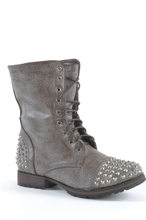 Grey Studded Grey Studded Combat Boots Coltford Boots