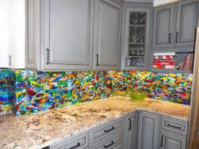 Colorful Kitchen Backsplashes by Colorful Abstract Kitchen Backsplash Designer Glass