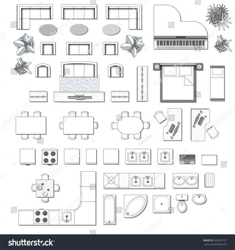 furniture icons for floor plans set top view interior icon design stock vector 625491731