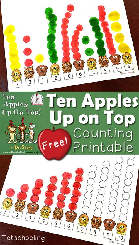 Ten Apples Printable Book ten apples up on top counting printable activity