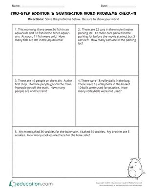 two step addition subtraction word problems check in