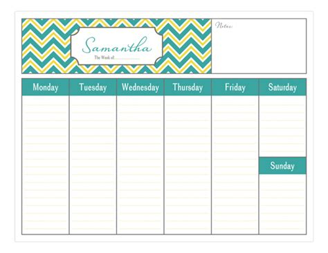 design weekly calendar simply organized weekly personalized calendars pad polka