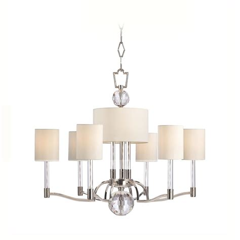 modern chandelier with white shades in polished nickel