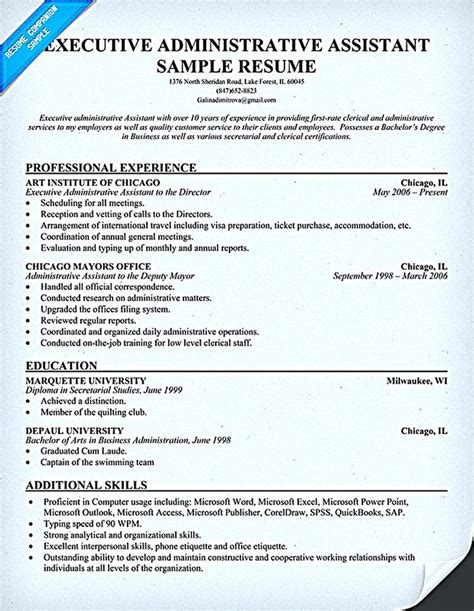 administrative assistant resume example sample admin resumes