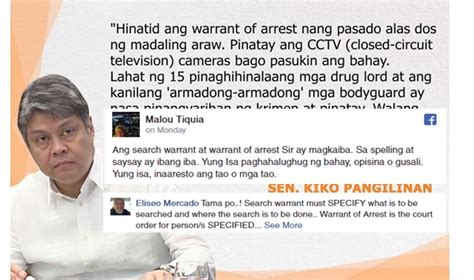 Difference Between Arrest Warrant And Search Warrant Political Analyst Sinupalpal Si Sen Kiko On Difference Between Search Warrant