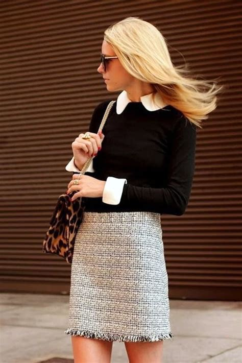 Ruffled Tweed A Line Miniskirt 20 cozy winter 2017 work for styleoholic