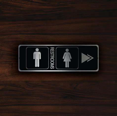 bathroom door sign modern restroom door sign