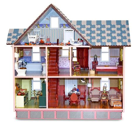 dolls and doll houses amazon com melissa doug classic heirloom victorian doll house melissa doug 2580
