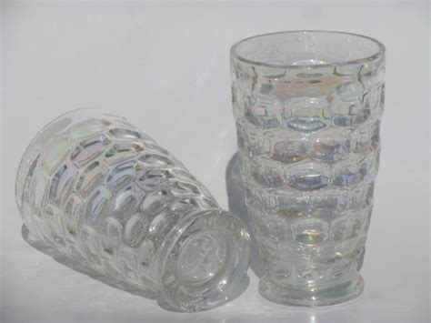 Vintage Federal glass tumblers, moonglow iridescent luster