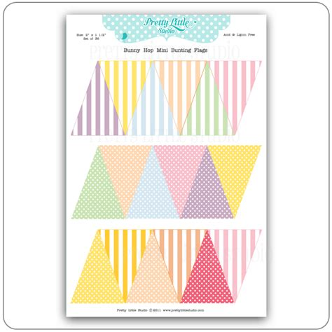 Pretty Little Studio Hopscotch Collection Reveal Garland Flags Mini Cake Banner Template