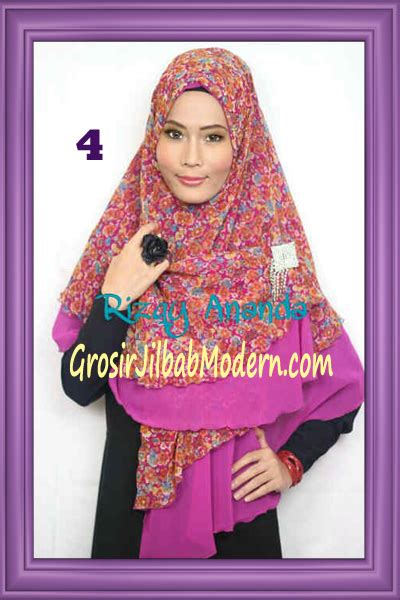 Kerudung Jilbab Syari Motif 4 jilbab khimar miriam motif bunga cantik no 4 grosir
