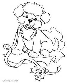 christmas coloring pages puppy ribbon
