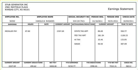 free payroll check stub template check stub template autos post