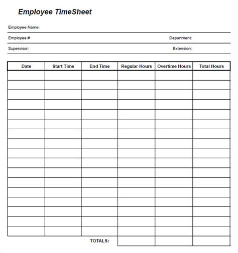 Time Card Template Free Employee by 10 Blank Timesheet Templates Free Sle Exle