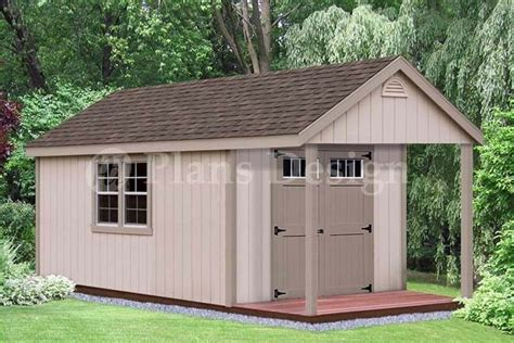 cabin pool house shed  porch plans p