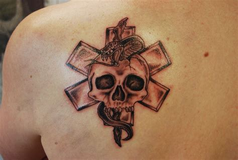 star of life tattoos paramedic black iron