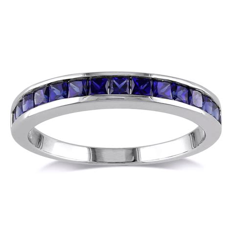 sterling silver created blue sapphire eternity ring cad