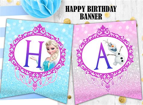 disney princess printable birthday banner frozen elsa birthday banner glitter banner printable digital