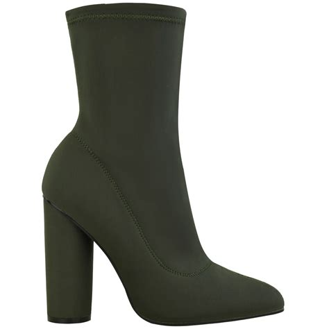 high heel boots size 3 womens block high heel stretchy ankle boots chelsea