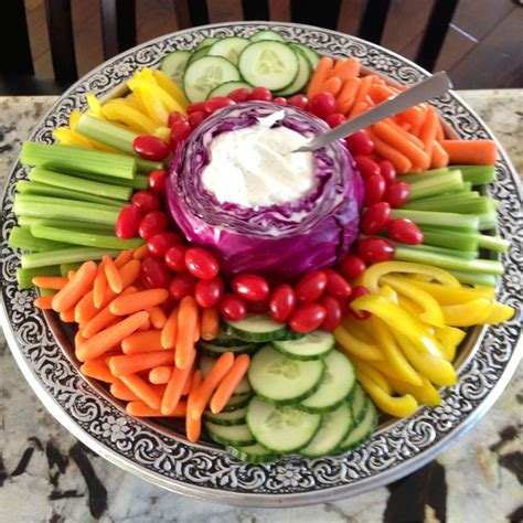 Veggie By Veggie fruit and veggie tray with purple cabbage for dip genius