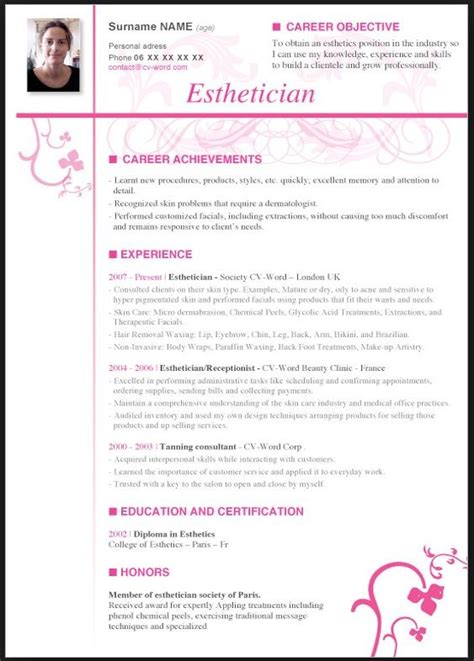 esthetician resume templates esthetician resume with no experience resume template