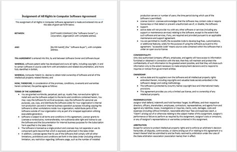 software development terms and conditions template computer software rights agreement template format
