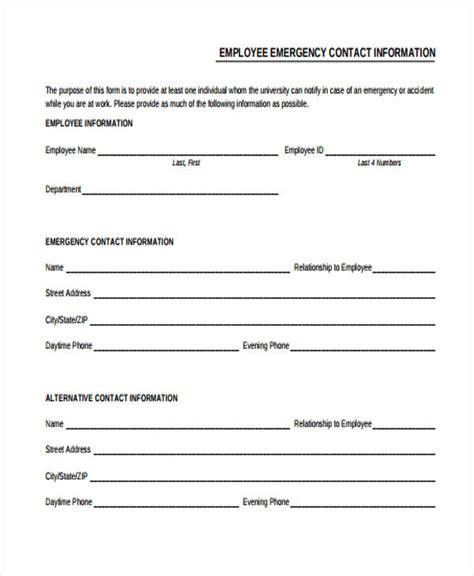 employee contact form employee emergency contact form