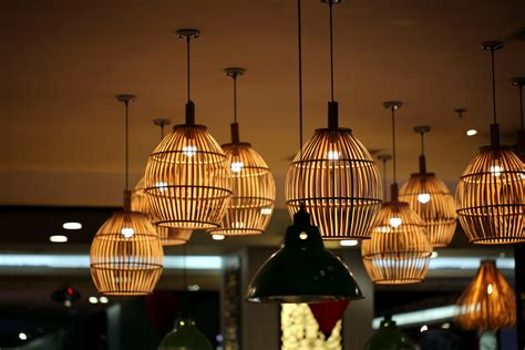 picture ceiling lamps bamboo restaurant