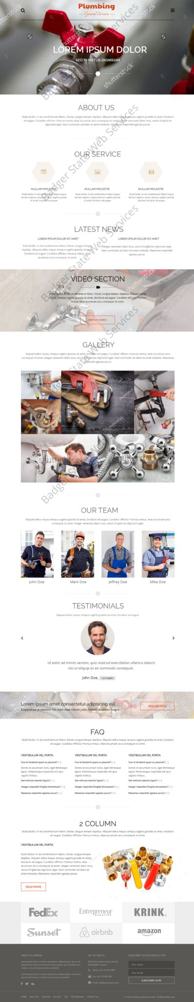 plumbing web design mockup n bsws sem local web