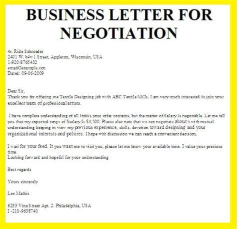 Offer Letter Negotiation Negotiation Business Letter Exles
