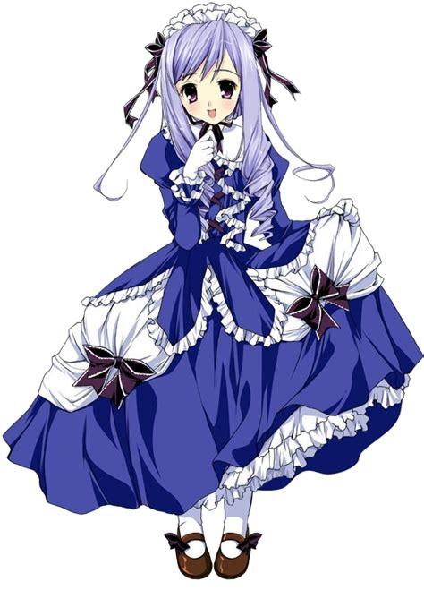 mangas fille avec une jolie robe bleue