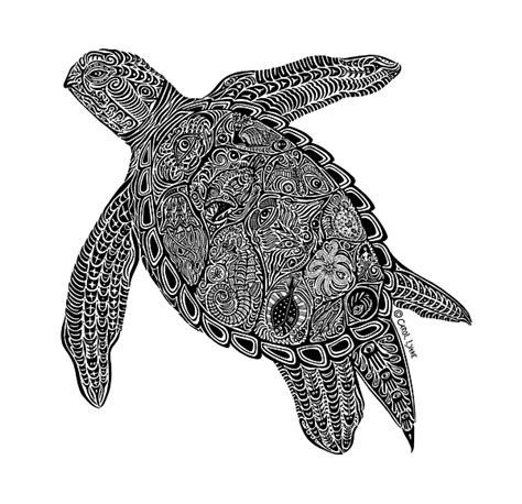 tribal turtle coloring page tribal turtle i drawing by carol lynne