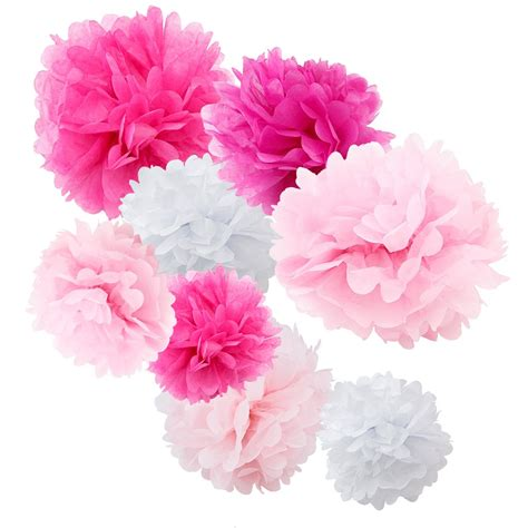 pink pomeranian assorted pink and white paper tissue pom poms set of 8 color pack small 8 quot 10 quot 12