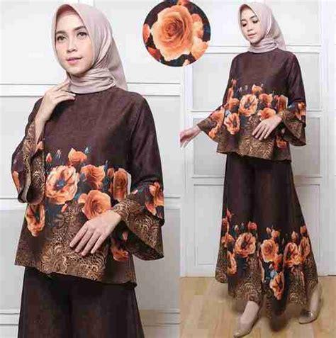 Celana Kulot Motif 04 baju setelan atasan kulot terbaru motif bunga coklat baju gamis terbaru