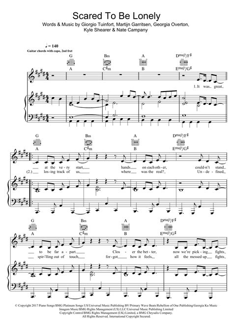 Dua Lipa Chords Scared To Be Lonely | sheet music sheet music at stanton s sheet music