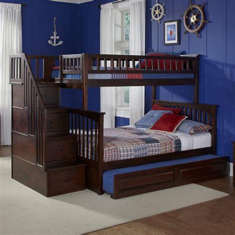 atlantic furniture columbia antique walnut twin  full bunk bed  lowescom